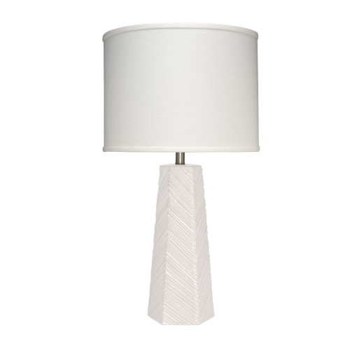 "32"" Cream White Ceramic Geometric Shape High Rise Table Lamp - IMAGE 1"
