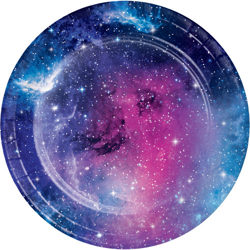 "Club Pack of 96 Navy Blue and Pink Galaxy Party Round Luncheon Plates 6.75"" - IMAGE 1"