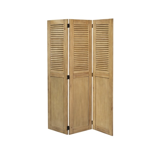 """70"""" Vintage Brown Louvered Panel Casual Wood Room Divider - IMAGE 1"""