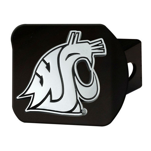 """4"""" Black and Gray NCAA Washington State Cougars Hitch Cover - IMAGE 1"""