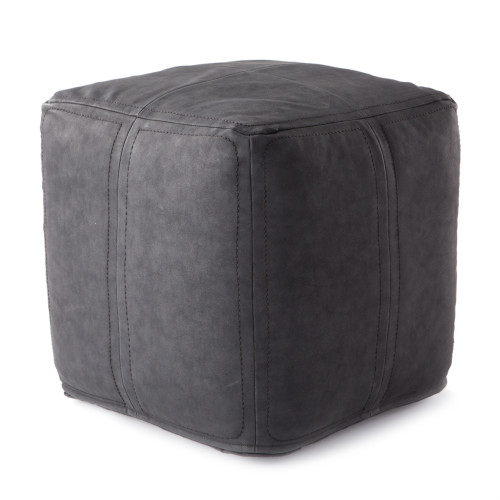 "18"" Solid Black Faux Leather Square Pouf - IMAGE 1"