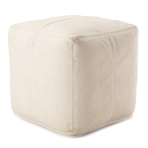 "18"" Solid White Faux Leather Square Pouf - IMAGE 1"