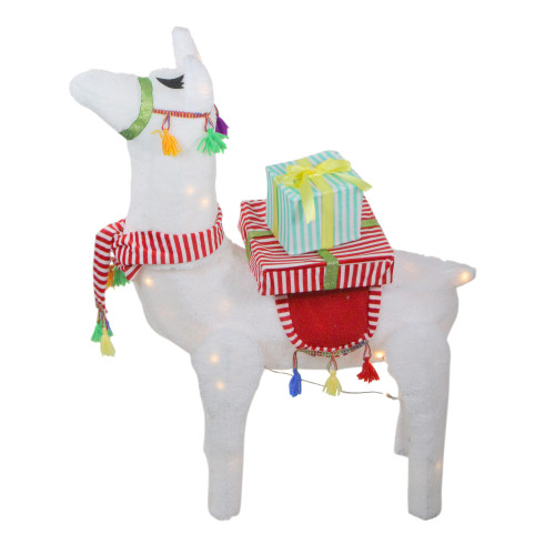 "31"" LED Lighted Plush Fabric Llama with Gifts Christmas Outdoor Decoration - IMAGE 1"