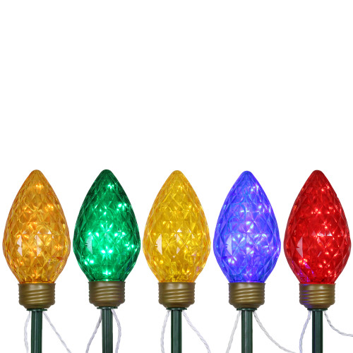 5ct Multi-Color LED Jumbo C9 Bulb Christmas Pathway Marker Lawn Stakes - 8 ft White Wire - IMAGE 1