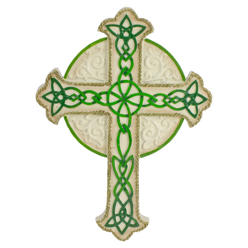 "7.5"" Green and White Celtic Irish Wall Cross with Golden Border - IMAGE 1"