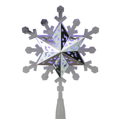 9.25'' Lighted White and Blue Rotating Snowflake Christmas Tree Topper - Clear LED Lights - IMAGE 1