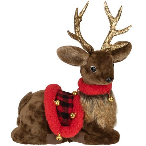 "10.5"" Sitting Reindeer with Buffalo Plaid Saddle Christmas Figure - IMAGE 1"