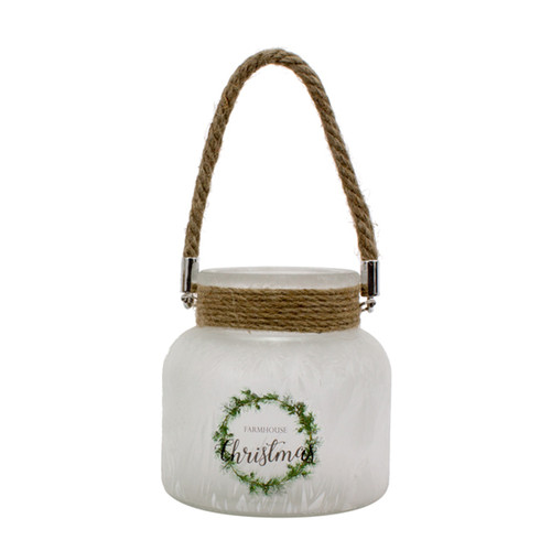 4.75 White Small Farmhouse Christmas Jar with Rope in Neck - IMAGE 1