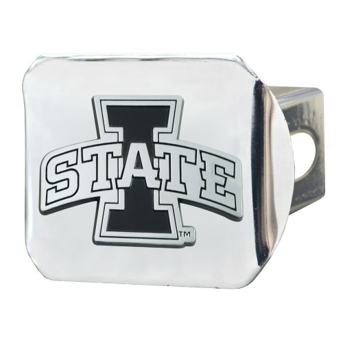 "4"" Stainless Steel and Black NCAA Iowa State Cyclones Hitch Cover - IMAGE 1"