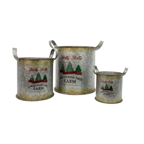 """Set of 3 Galvanized Metal Holly Jolly Christmas Buckets 14"""" - IMAGE 1"""