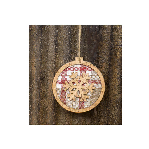 """5"""" Red and White Check Snowflake Design Christmas Hanging Ornament - IMAGE 1"""