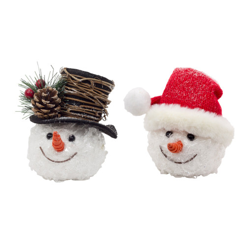 """9"""" Red Assorted Crackle Snow-head Ornaments - IMAGE 1"""