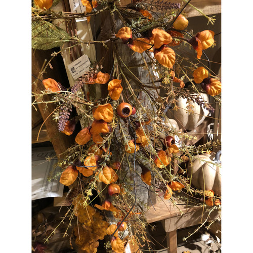 """30"""" Green and Yellow Artificial Lavender Pomegranate Drip Garland - IMAGE 1"""