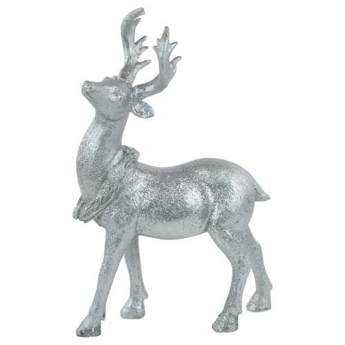 """10.5"""" Elegant Silver Christmas Table Top Reindeer Figure - IMAGE 1"""