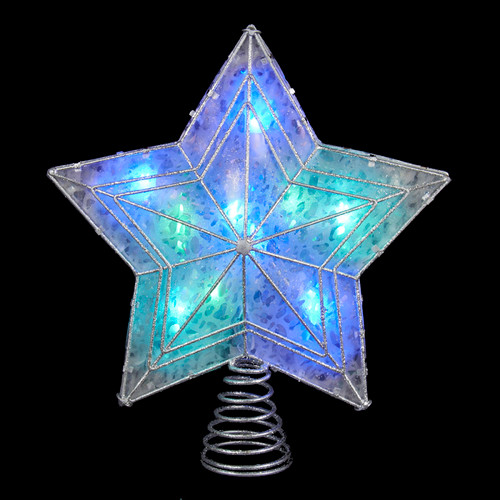 """12"""" Lighted Silver and Clear Star Color Changing LED Christmas Tree Topper - IMAGE 1"""