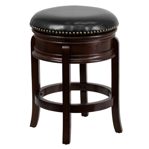 """25"""" Cappuccino Brown and Black Transitional Counter Height Barstool with Swivel Seat - IMAGE 1"""