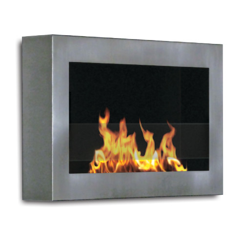 Anywhere Fireplace Indoor Wall Mount - SoHo Model Stainless Steel - IMAGE 1
