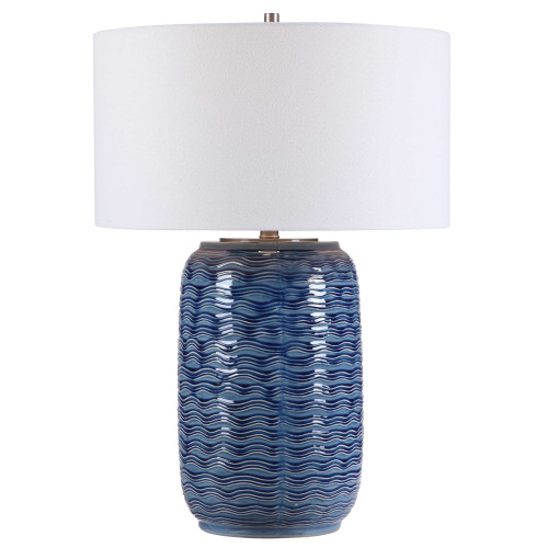 "27"" Contemporary Table Lamp with White Round Hardback Shade - IMAGE 1"