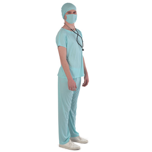 Blue Emergency Doctor Scrubs Halloween Costume- Large - IMAGE 1