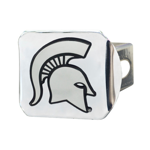 """4"""" x 3.25"""" Silver and Black NCAA Michigan State University Spartans Hitch Cover Automotive Accessory - IMAGE 1"""