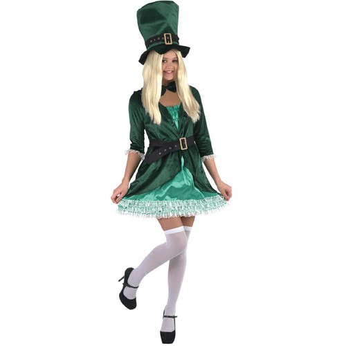 Green and White St. Patrick's Day Halloween Costume- Small - IMAGE 1