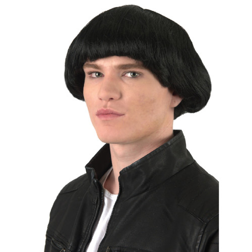 Men's Black Mushroom Halloween Wig Costume Accessory- One Size Fits Most - IMAGE 1