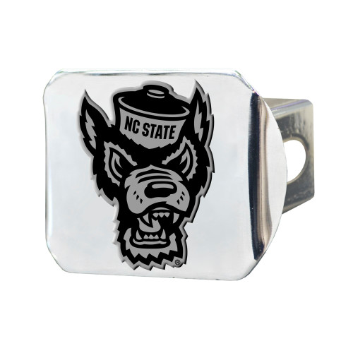 """4"""" Stainless Steel and Black NCAA NC State Wolfpack Hitch Cover - IMAGE 1"""