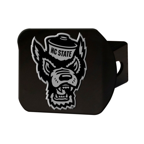 """4"""" Black and Gray NCAA NC State Wolfpack Hitch Cover - IMAGE 1"""