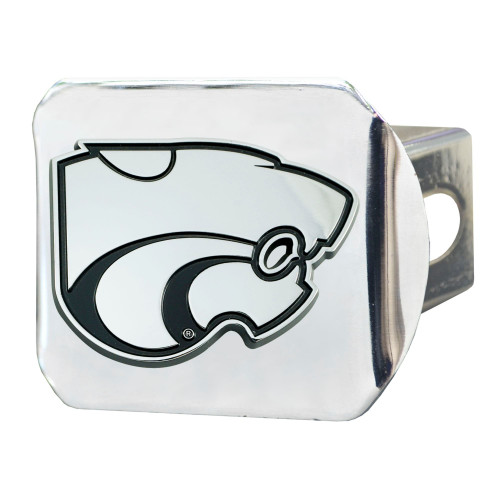 "4"" Stainless Steel and Black NCAA Kansas State Wildcats Hitch Cover - IMAGE 1"
