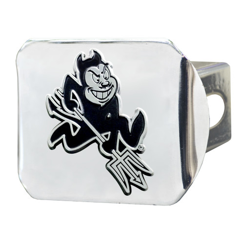 """4"""" Stainless Steel and Black NCAA Arizona State Sun Devils Hitch Cover - IMAGE 1"""