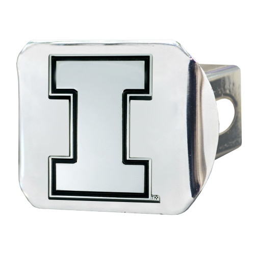 """4"""" Stainless Steel and Black NCAA Illinois Fighting Illini Hitch Cover - IMAGE 1"""