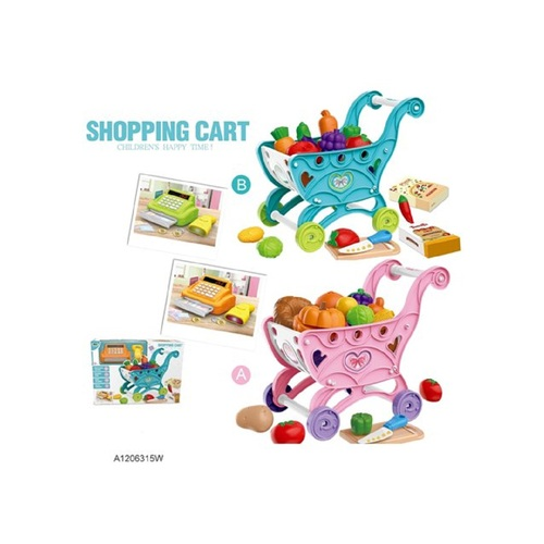 Pack of 2 Blue and Pink Plastic Shopping Cart - IMAGE 1