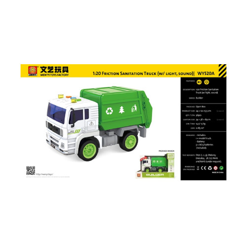 "9.25"" Friction Sanitation 1:20 Scale Toy Truck with Sound and Light - IMAGE 1"