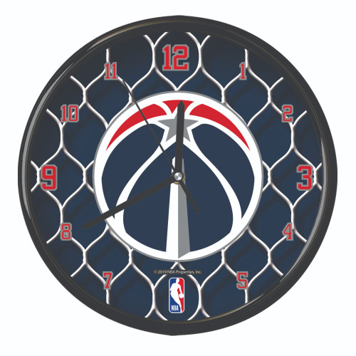 "11.5"" Teal Blue and White NBA Washington Wizards Net Wall Clock - IMAGE 1"