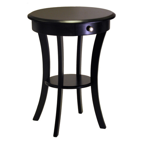 """27"""" Black Elegant Sasha Wooden Round Accent Table with Pull-Out Drawer - IMAGE 1"""