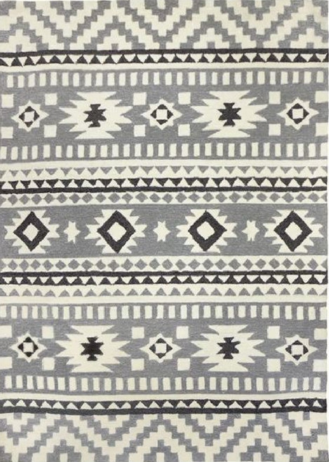 5' x 7' Gray and White Southwestern Inspired Indoor/Outdoor Accent Rug - IMAGE 1