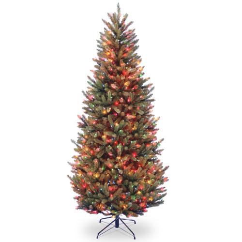 7' Pre-Lit Natural Fraser Slim Artificial Christmas Tree – Multi-Color Lights - IMAGE 1