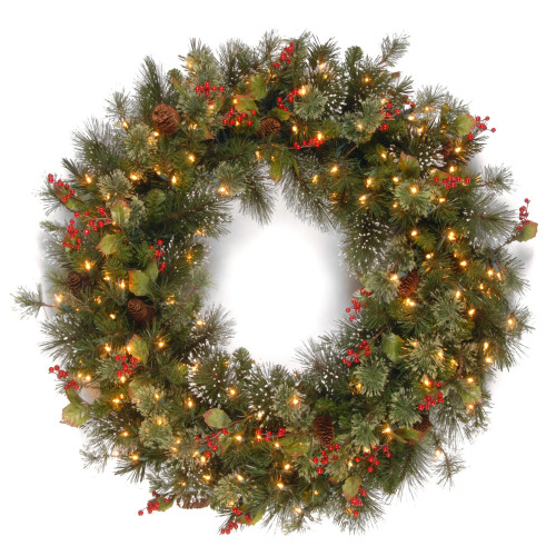 30 Pre-Lit Wintry Pine Artificial Christmas Wreath with Pine Cones and Berries - Clear Lights - IMAGE 1