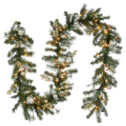 9' Pre-Lit Pomegranate Pine Artificial Christmas Garland - Clear Lights - IMAGE 1