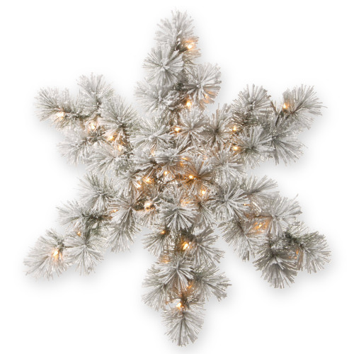 """32"""" Pre-Lit Snowy Bristle Pine Snowflake with Battery Operated Warm White LED Lights - IMAGE 1"""