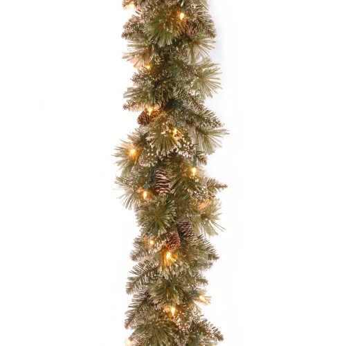 9' Pre-Lit Glittery Pine Christmas Garland – Clear Lights - IMAGE 1