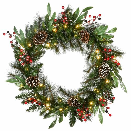 """30"""" Pre-Lit Frosted Pine Berry Artificial Christmas Wreath - LED Lights Battery Operated - IMAGE 1"""