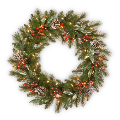 """24"""" Pre-Lit Frosted Pine Berry Artificial Christmas Wreath -  LED Lights Battery Operated - IMAGE 1"""