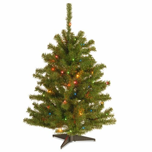 3' Pre-Lit Eastern Spruce Artificial Christmas Tree - Multi-Color Lights - IMAGE 1