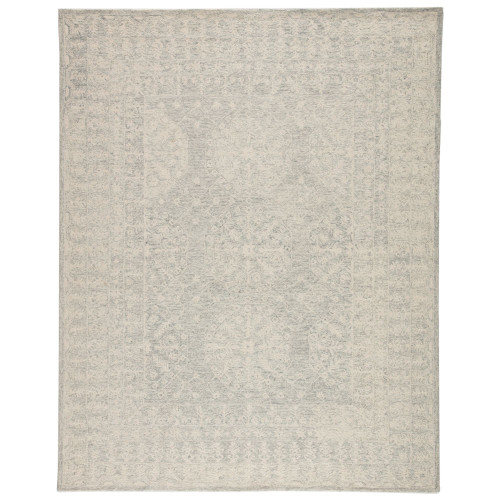 5' x 8' Gray and Cream White Transitional Hand Tufted Rectangular Area Throw Rug - IMAGE 1