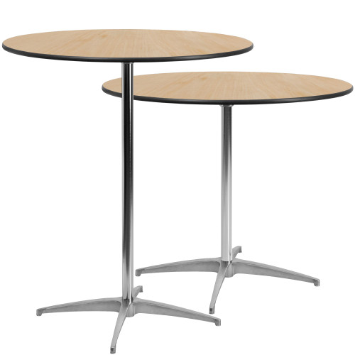 """42"""" Black and Beige Circular Outdoor Patio Furniture Cocktail Table with Column - IMAGE 1"""
