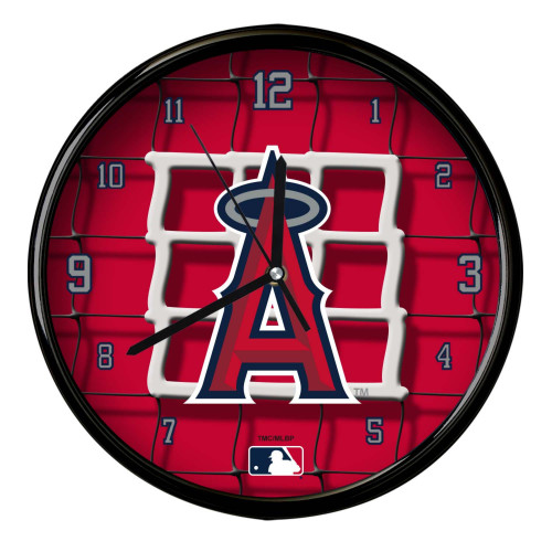 "11.5"" Red and White MLB Los Angeles Angels Net Wall Clock - IMAGE 1"