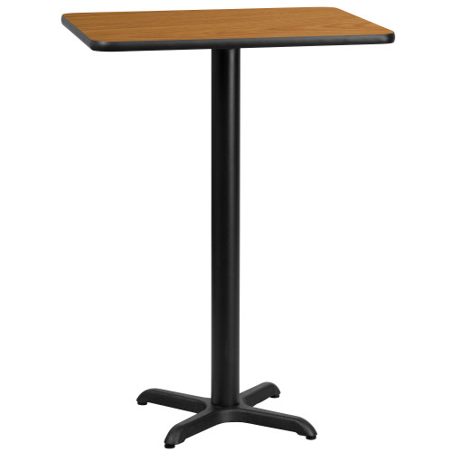 30'' Rectangular Natural Laminate Table Top with 22'' Bar Height Table Base - IMAGE 1