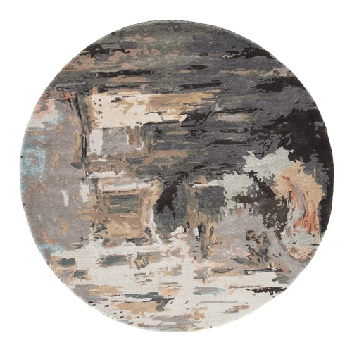8' Beige and Gray Abstract Hand Tufted Round Area Throw Rug - IMAGE 1