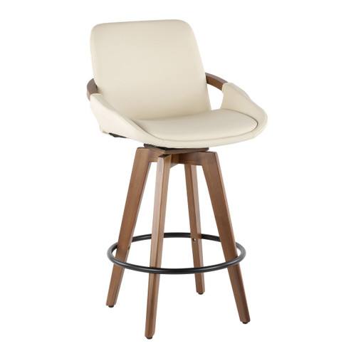 """37.5"""" Walnut and White Faux Leather Swivel Indoor Comfortable Counter Stool - IMAGE 1"""